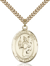 14K Gold Filled St. Uriel Pendant 1 x 3/4 inch with 24 inch Chain - $135.80