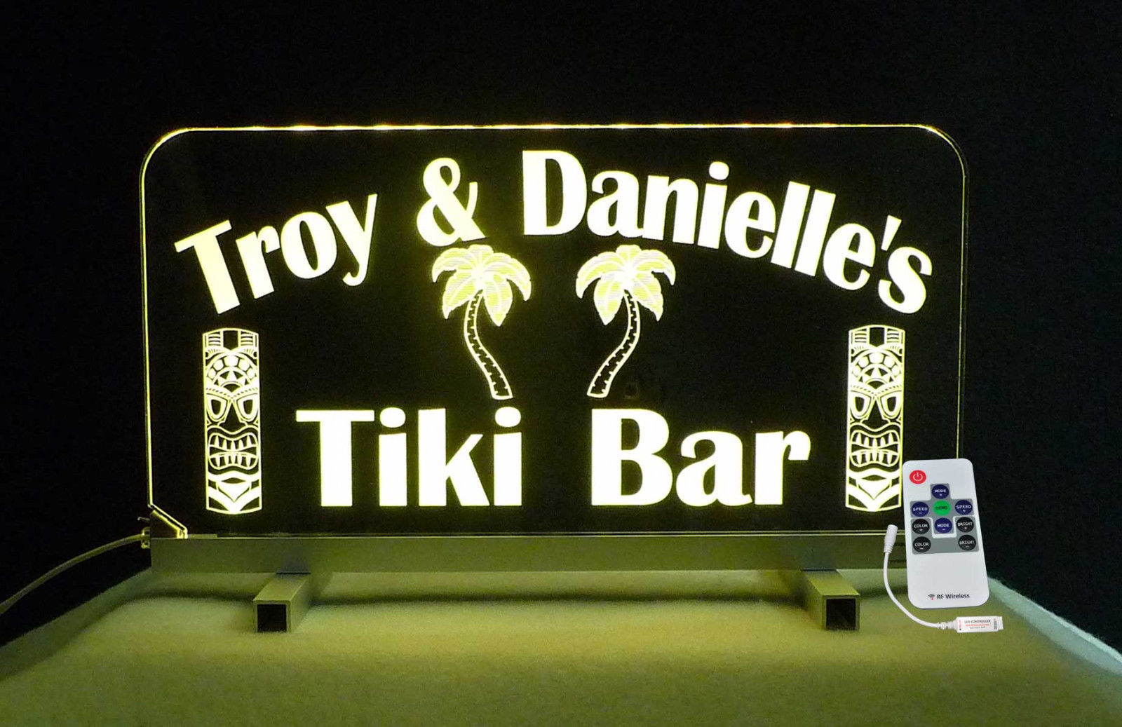Tiki Bar Sign, Man Cave Sign, Personalized Gift for her, Color Changing