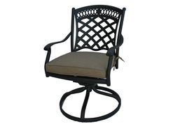 8 piece patio cast aluminum party bar and swivel bistro set with Sunbrella seats image 7