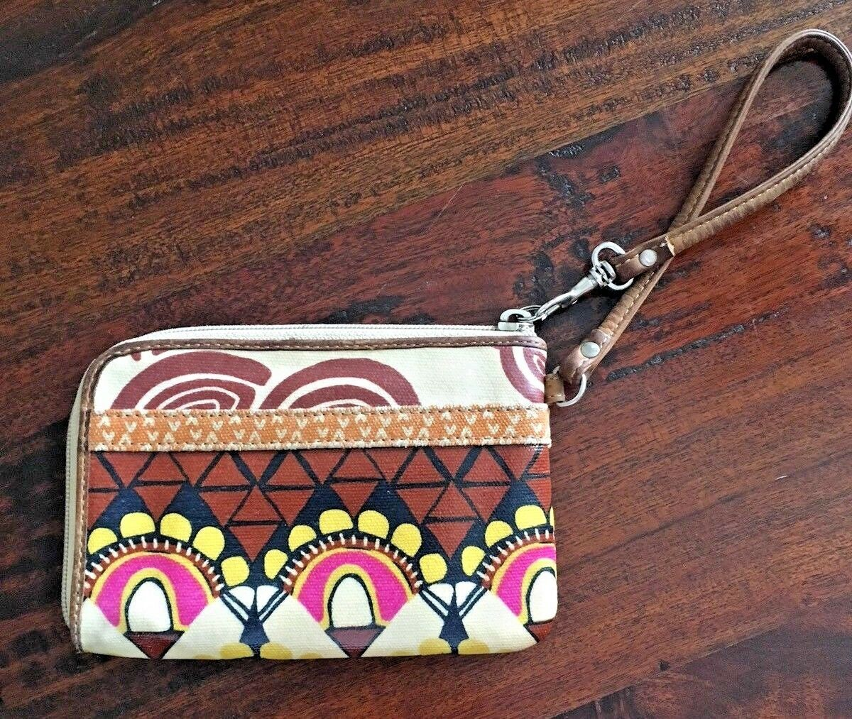 FOSSIL Key-Per Brown Floral Pattern Zip Around Coated Canvas Wallet 6x4 image 3