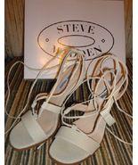 new steve madden faitful sandals / heels size 7.5 M cream embossed faux ... - $35.00