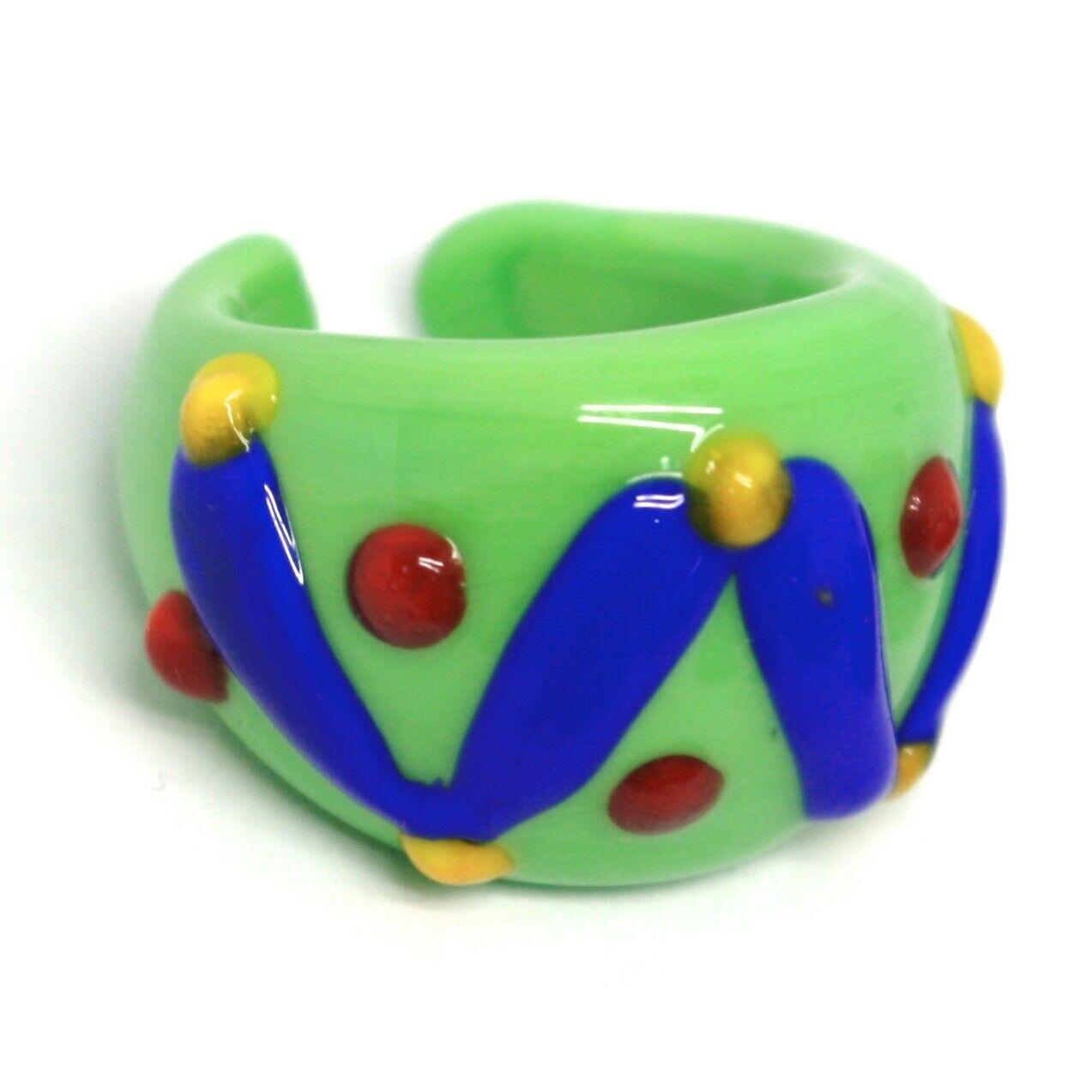 Ring Antique Murrina, Murano Glass, Green, Blue, Wave, Polka dot Embossed