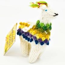 Handknit Alpaca Wool Whimsical Hanging Llama Ornament Handmade in Peru image 2
