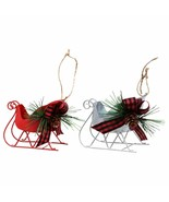 "Sleigh Christmas Ornament with Pine Cones Red Silver 3""X4.25"" w - $5.99"