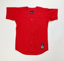 Mizuno Baseball Full Button Game Jersey Red Short Sleeve Youth Boy's L X... - $11.49