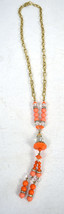 J. Crew Necklace Orange Clear Faux Coral Bead Gold Tone Link Chain - $24.75