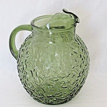 Vintage Anchor Hocking Lido Milano Green Glass Pitcher Crinkle Bubble - $24.75