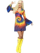Smiffys 1960's Tie Dye Hippie 60s Culture Adult Womens Halloween Costume... - $29.76