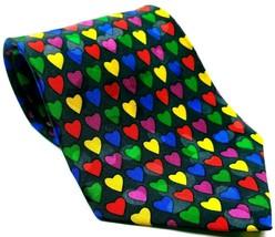 Valentine Heart Print Multi-Color Men's Dress Necktie 100% Silk Blue - $15.00