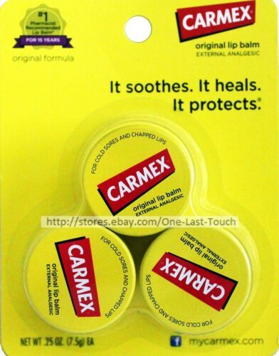 CARMEX^* 3pc Lip Balm Set ORIGINAL FORMULA External Analgesic JARS/Tubs (carded)
