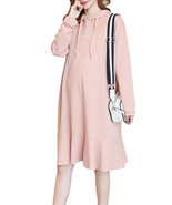 Maternity Dress Letter Embroidery Flounced Hooded Dress - $37.99