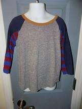 J. CREW Crewcuts Gray W/Multi-Colored Sleeves Shirt Baseball Style Size 4/5 EUC - $18.69