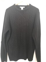 NICE MENS BLACK GEOFFREY BEENE CABLE KNIT PULLOVER 100% ACRYLIC SWEATER ... - $20.56