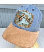 Denim Duck Hunting Leather Strapback Baseball Cap Hat Made in USA - $15.12