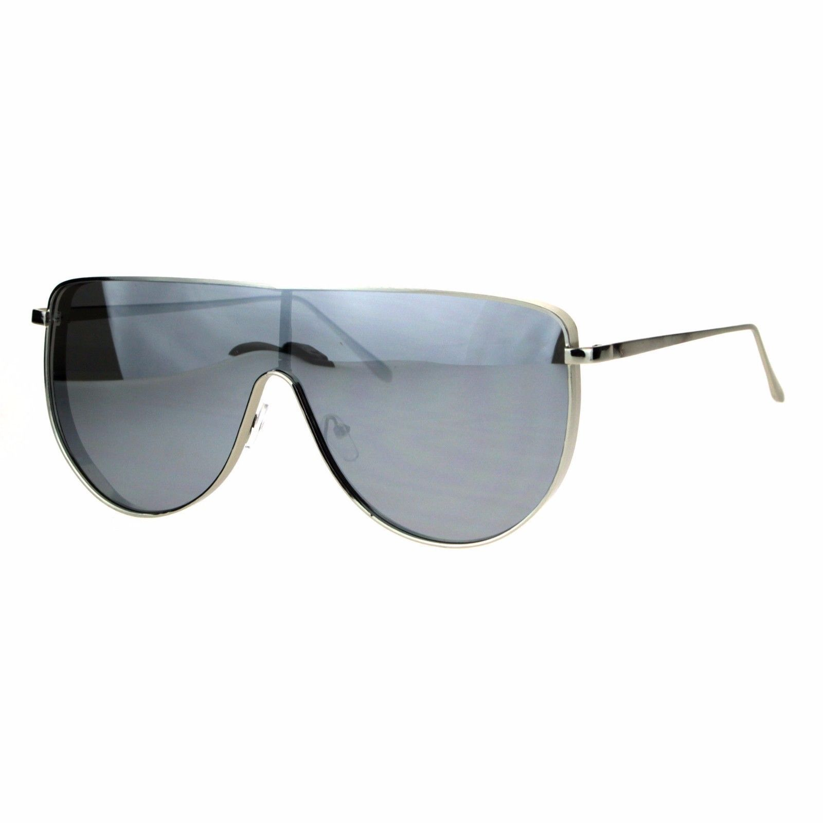 Oversized Shield Fashion Sunglasses Flat Top Metal Frame Mirror Lens