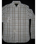 Mens Bloomingdales Button-Down Blue Plaid Gold Long Sleeve White Cotton ... - $19.75