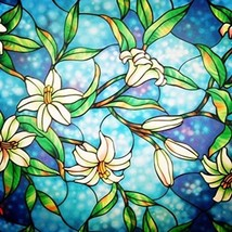 Window Film Frosted Stained Glass Decorative Privacy Home Bathroom Cling... - $12.01
