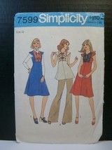 Simplicity Pattern 7599 Miss Size 12 Dress Jumper Top Cut Vintage 1976 - $9.90