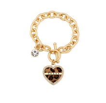 Guess Goldtone Leopard Heart Toggle Charm Bracelet - $28 - NWT - $19.00