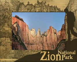 Zion National Park with Hiker Laser Engraved Wood Picture Frame (5 x 7) - $30.99
