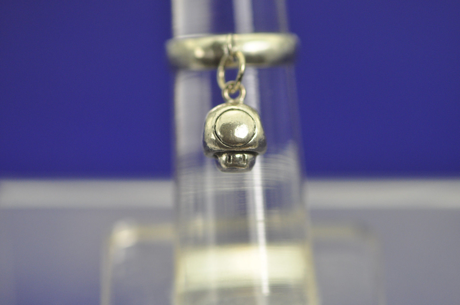 Mario Mushroom Ring Dangle Movable Tap your Finger charm sterling silver Jewelry