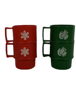 Tupperware Vintage 4 Coffee Mug Cups Stackable Green Red #1312 CHRISTMAS  - $12.99