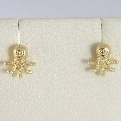 Pendientes de Oro Amarillo 750 18 Ct Lóbulo, en Forma Pulpo, Brillo y Satinato