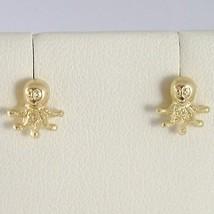 Pendientes de Oro Amarillo 750 18 Ct Lóbulo, en Forma Pulpo, Brillo y Satinato image 1