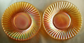 VINTAGE IMPERIAL GLASS MARIGOLD CARNIVAL GLASS SWIRL PATTERN PLATES (2) - $4.50