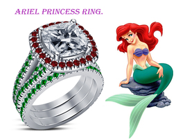 Ariel Princess Diamond Ring Set 14k White Gold Finish 925 Sterling Solid Silver - $94.99