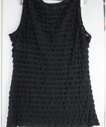 Women's 7 Wonders Sleeveless Size M Teared Ruffle Black Top - $10.88