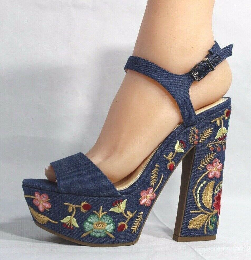 Jessica Simpson Divella Damen High Heels Offen Sandalen Denim Stickerei Größe 7 image 4