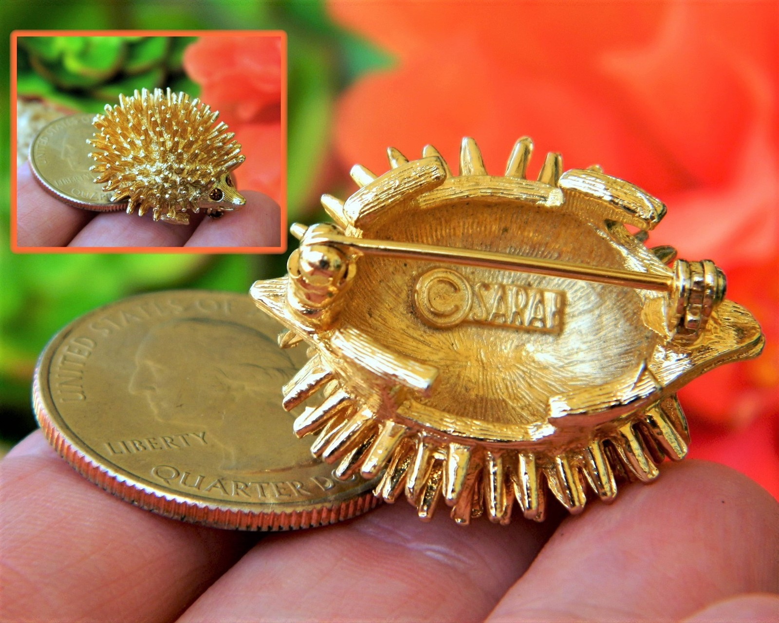 Vintage Hedgehog Porcupine Sarah Coventry Spiked Brooch Pin Amber Eyes