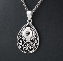 2019 New Snap Necklace Fashion Vintage Silver Necklace Fit 12mm Snap But... - $6.78
