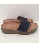 Donald J Pliner Fifi Navy Blue Snakeskin Platform Thong Sandal Cork Bed ... - $69.76