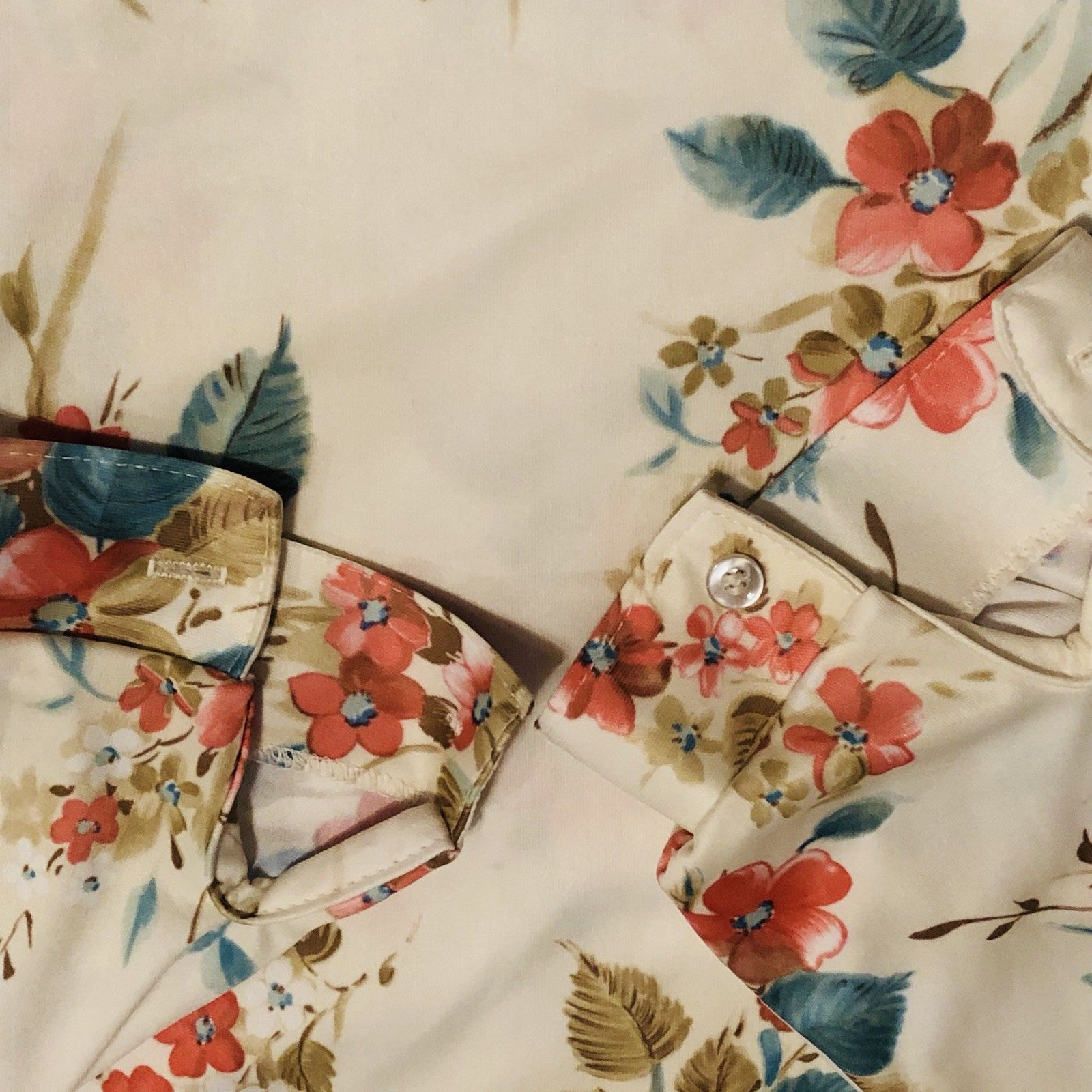 """Ecco-Too By Eccobay Womens Blouse Top 70""""s Fall Floral Vintage Polyester"""