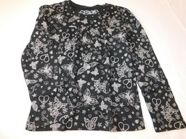 The Children's Place Girl's Long Sleeve T Shirt S 5/6 Black Hearts Flowe... - $24.74