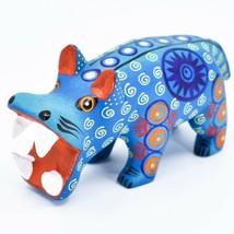 Handmade Alebrijes Oaxacan Wood Carved Painted Folk Art Hippo Hippopotamus  image 2