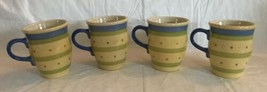 Set 4 Pfaltzgraff PISTOULET Jana Kolpen Coffee Mugs Blue Band Cups Unused 2002 - $21.77