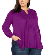 Style & Co Women's Plus Size Crochet-Yoke Peasant Blouse Pullover Tops - $29.70+