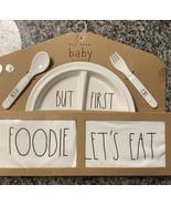 Rae Dunn Baby Set Foodie Let's Eat Plate Bib Bodysuit Utensils 5 Piece G... - $19.80