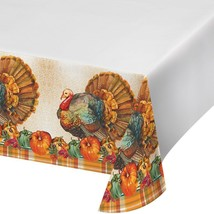 Traditional Thanksgiving Turkey 54 x 102 Plastic Tablecover - $6.87