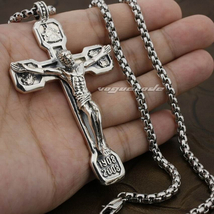 LINSION Huge Heavy Jesus Crucifix Cross Solid 925 Sterling Silver Mens P... - $225.00+