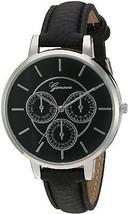 Geneva Women's GV/1013BKBK Silver-Tone And Black Strap Watch - $39.85