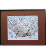 Fox, First Snow, Framed Wildlife Art Print, Pen and Ink, Animal Art Prin... - $39.00
