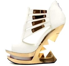Hades NEBULA White Patent Peep Toe Club Gold Metallic Heels Iceberg Wedg... - €122,45 EUR