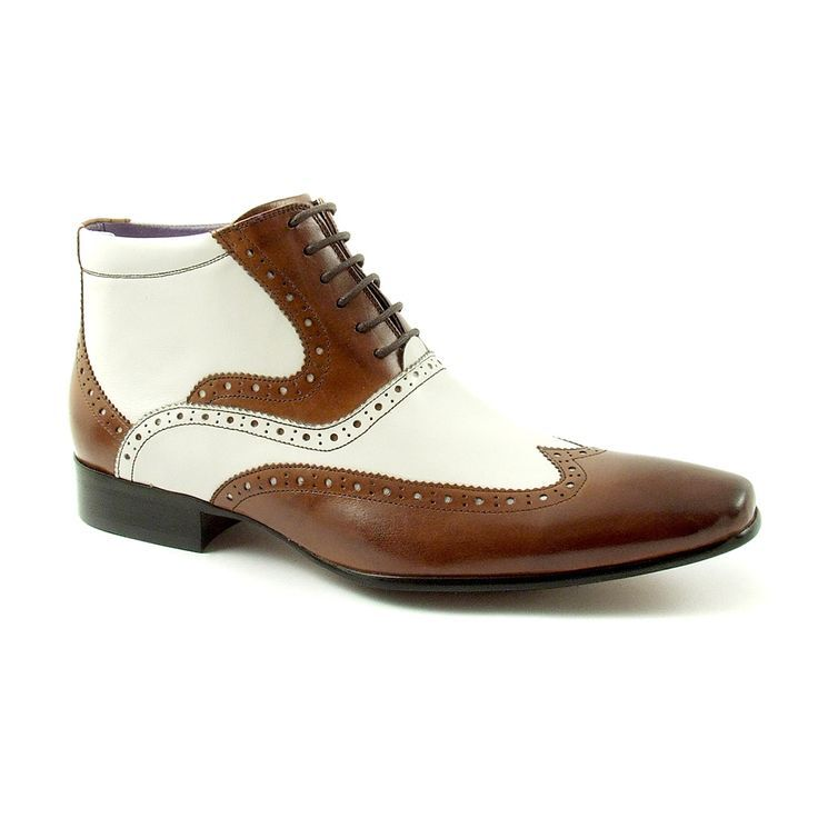 Crazy Hand Toe Makeover Game For Kids: Handmade Men Wingtip Ankle Boot, Men Two Tone Leather Boot