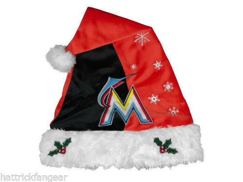 MIAMI MARLINS FOREVER COLLECTIBLES MLB KNIT FLEECE SANTA HAT