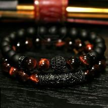 2018 New 2Pcs/ Set of Luxury Natural Tiger Eye Stone Bracelet Ladies And... - $23.40