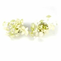Vintage Earrings 1950S Atomic Spray Trembler Green Peridot Glass Clip-On - $14.71
